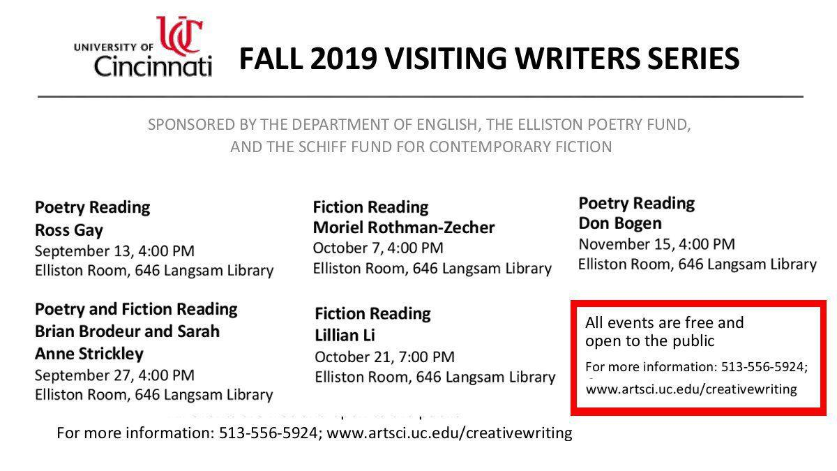 Fall 2019 visiting writers series image
