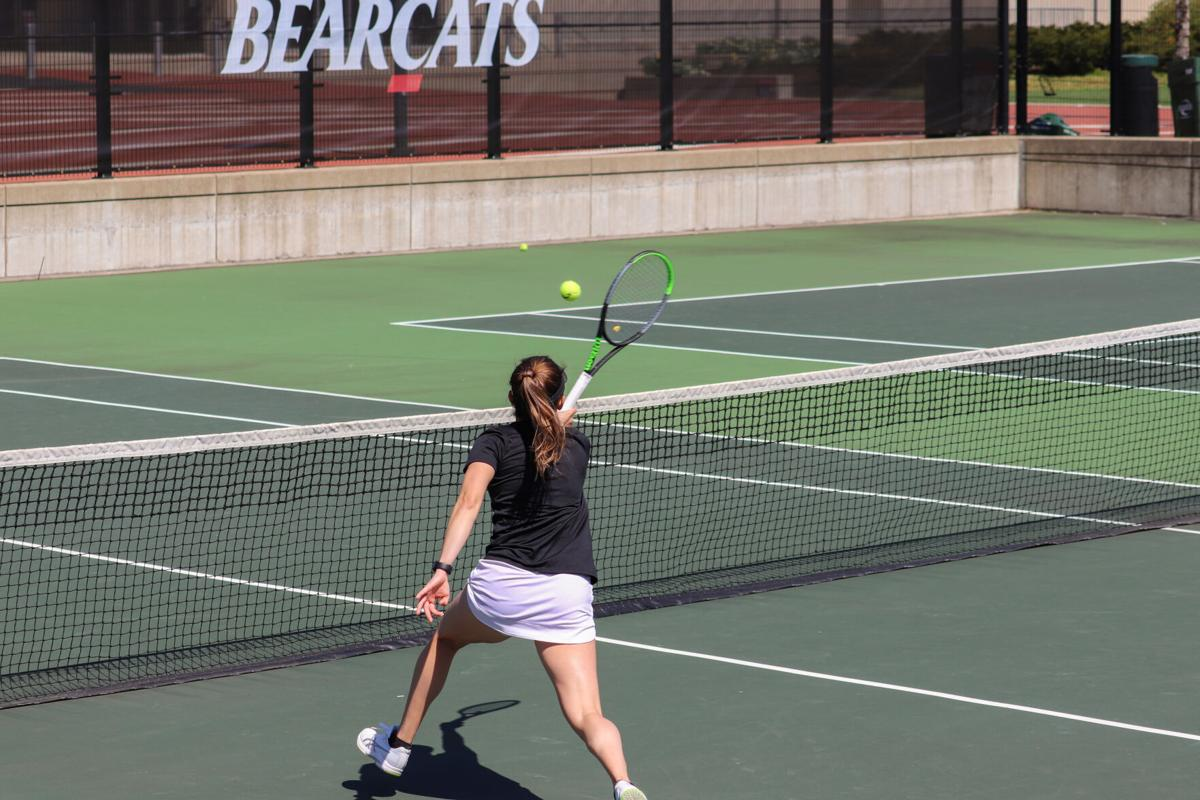 Alexia Coutino plays the front row against Butler during the doubles match with partner Kelli Niehaus.