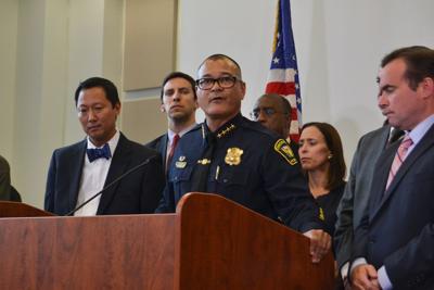 Cincinnati Police Chief Jeffrey Blackwell speaks to press