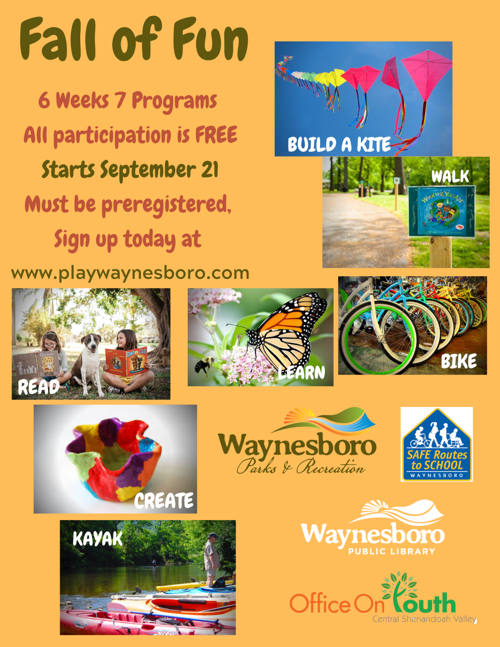 Waynesboro Parks and Rec Fall Programming Flyer