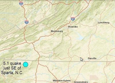 Sparta NC earthquake map