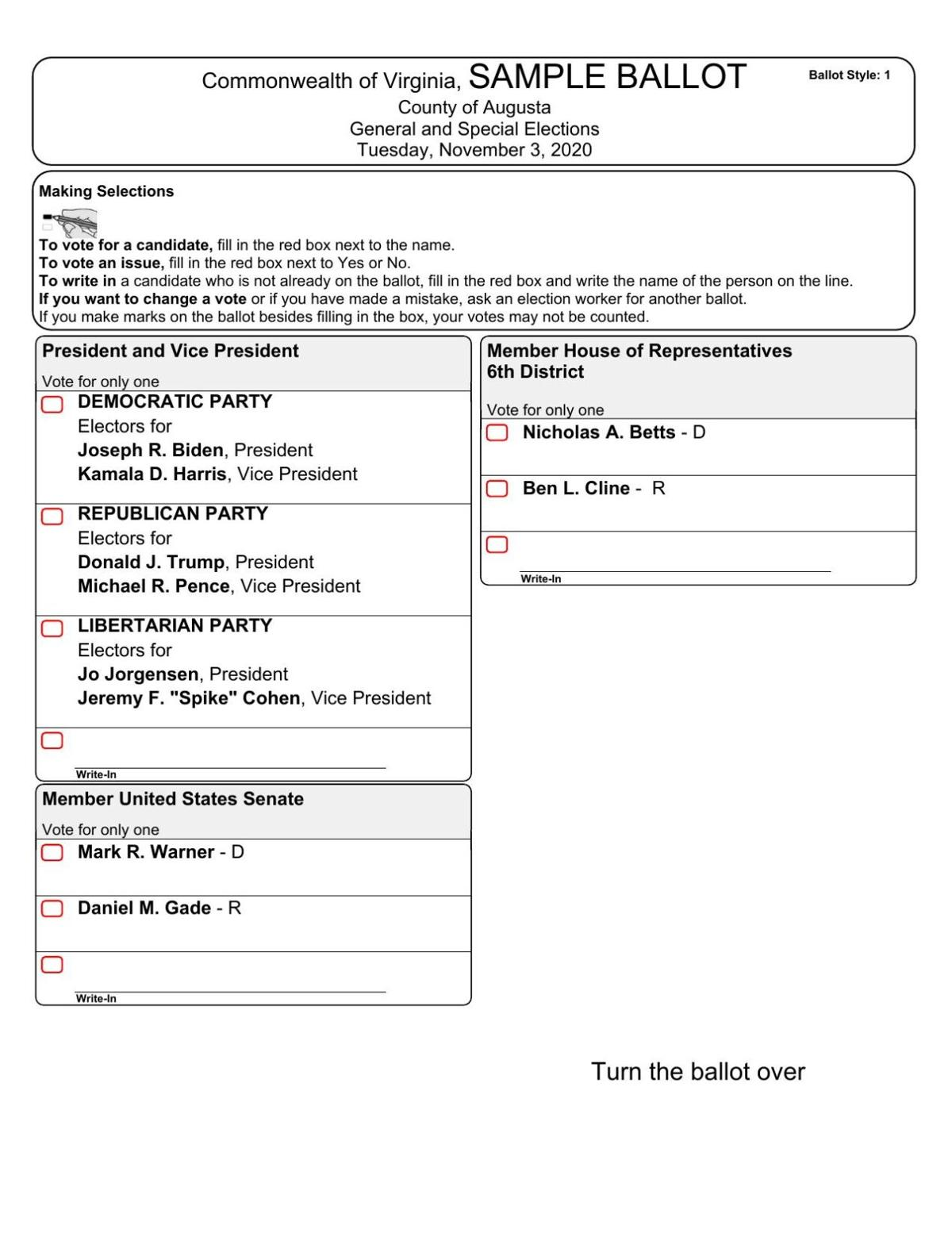 November Sample Ballot - Augusta County