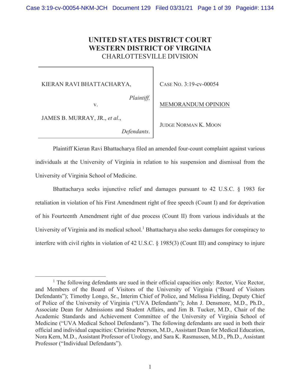 Judge Moon opinion - Bhattacharya lawsuit