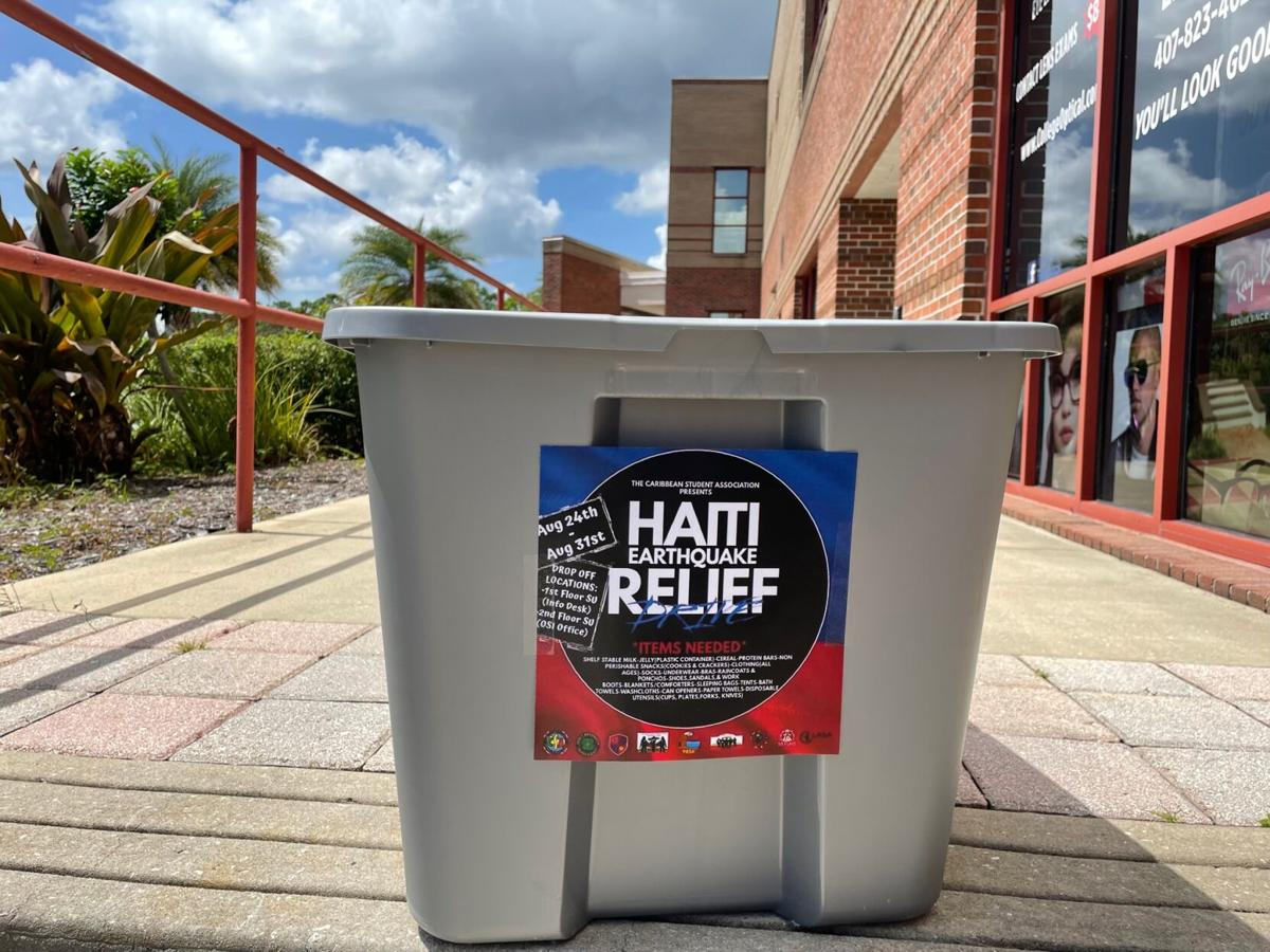 Haiti relief drop-off bin