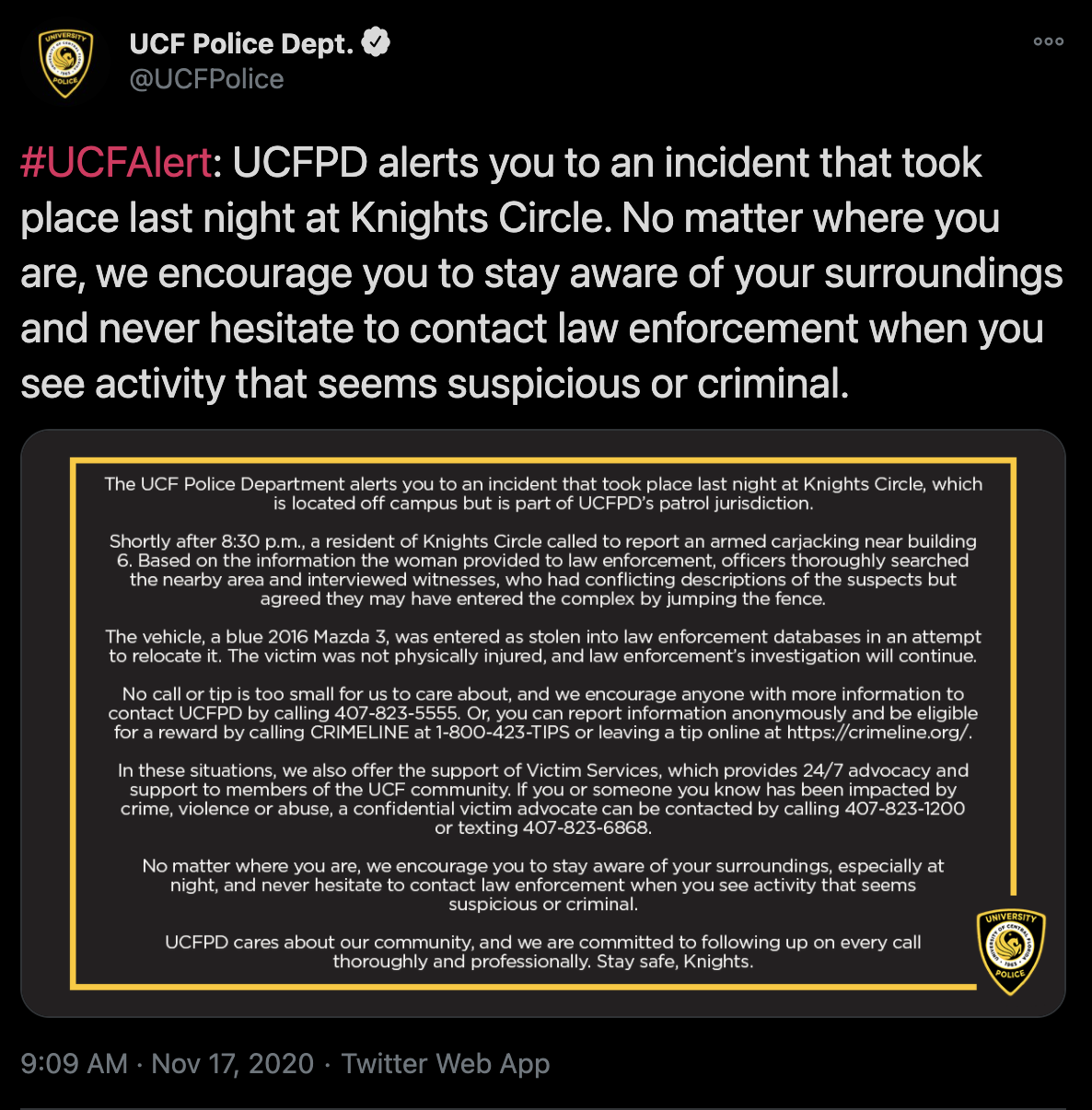 UCFPD responds to an armed carjacking incident Monday night at Knights Circle