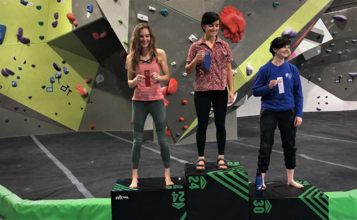 Climbing their way to success: college students bouldering competition