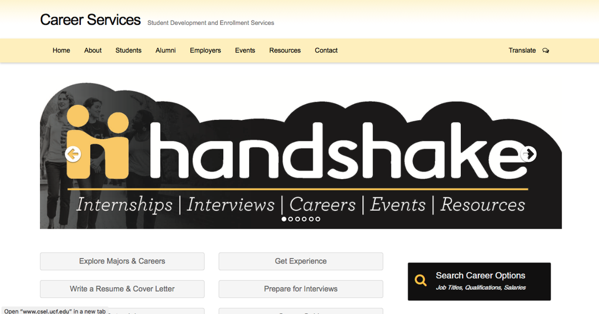 new handshake service allows ucf students and alumni to network