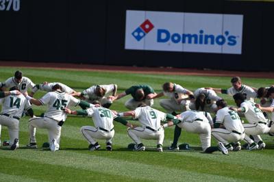 Charlotte baseball huddle