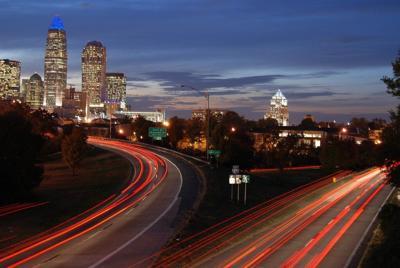 Car trails Charlotte city