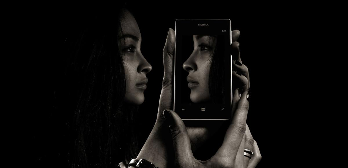 Girl View Eyes Face Woman Smartphone Double