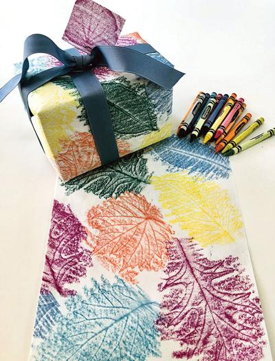 Fun Wrapping Paper from Fall Foliage