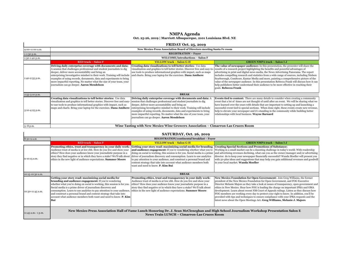 2019 NMPA Convention Agenda