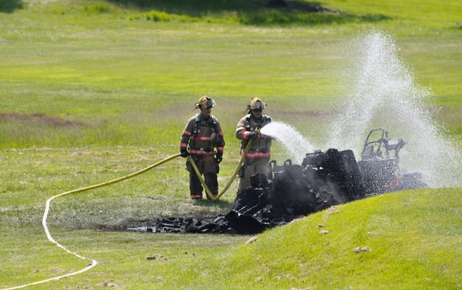 Mower bursts into flames at Ives Hill, nobody hurt