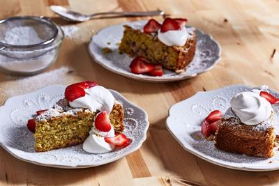 The power of three Strawberries, pistachios and olive oil combine for one splendid cake