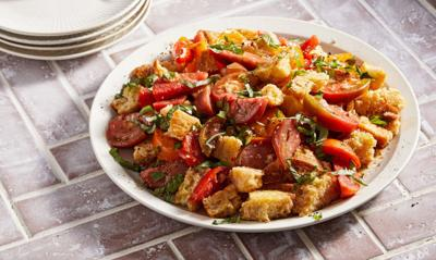 Fresh summer tomatoes were made for this delicious panzanella salad
