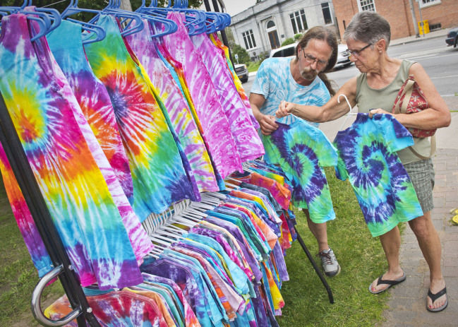 Tie-dye stand awash in color