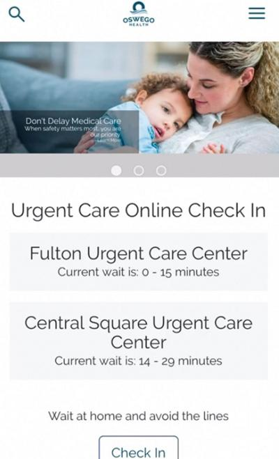 Online check-in feature saves you time and enforces social distancing at Oswego Health Urgent Care centers
