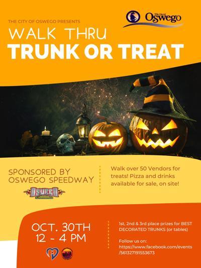 Free walk thru trunk or treating at Oswego Speedway