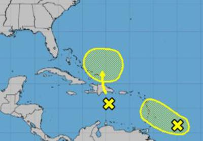 There's an uptick in activity in the tropics with two disturbances located east of the Caribbean