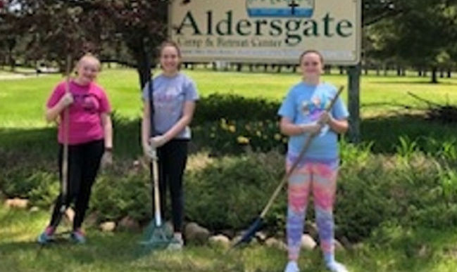 Girl Scouts work on trails at Adirondack camp