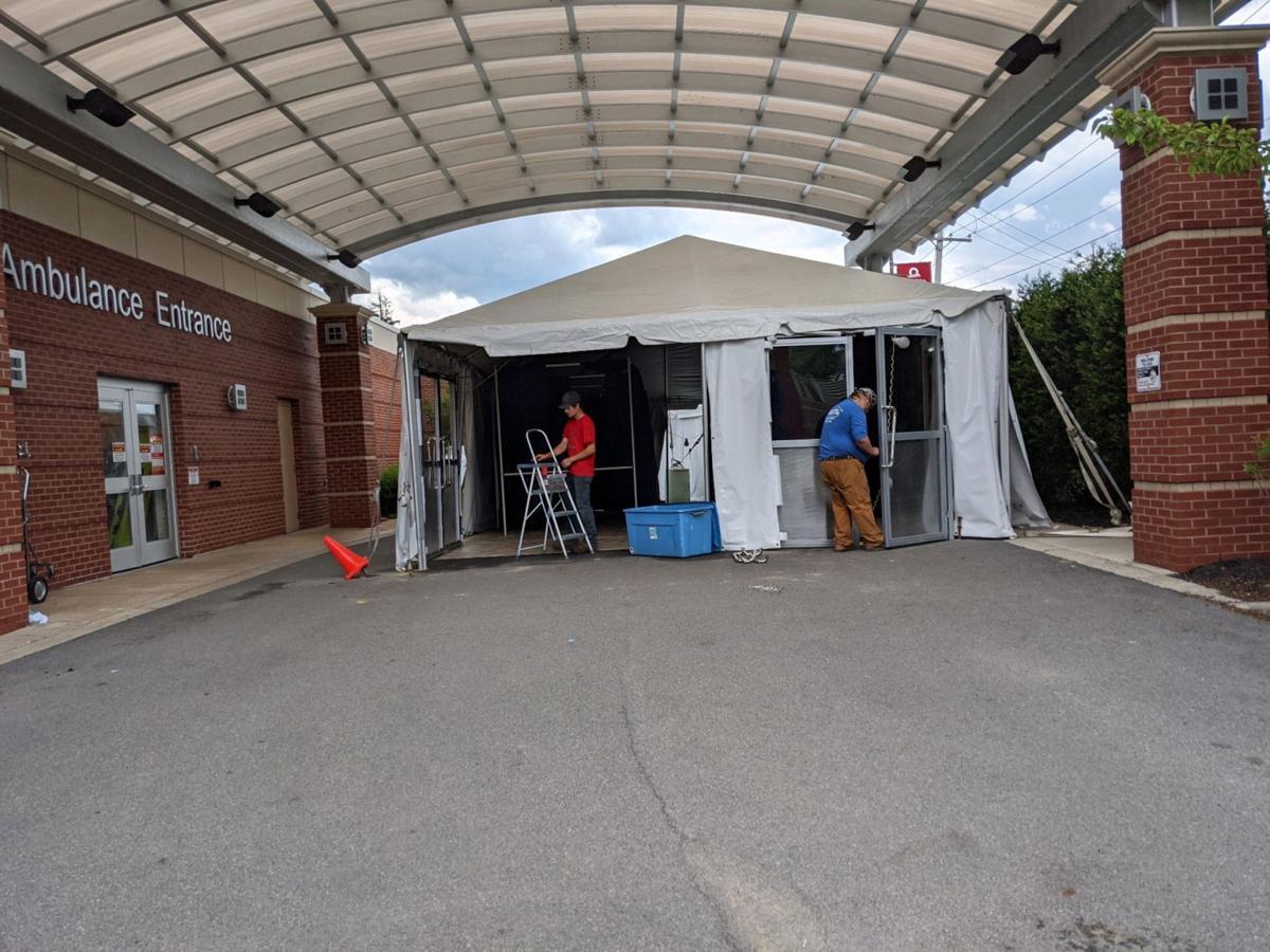 Oswego Health dismantles emergency triage tent