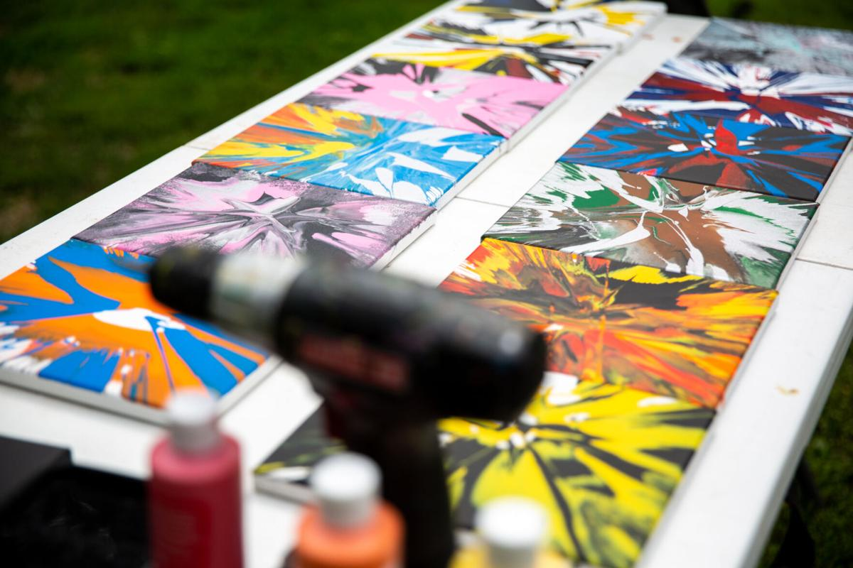 Adams man knows drill for creating abstract paintings