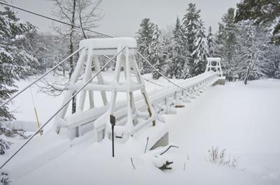 Blanket of white for Wanakena footbridge