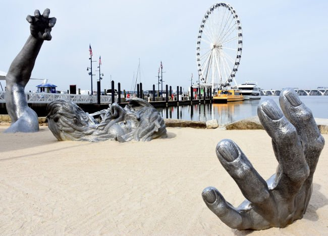 Outdoor art you can touch National Harbor in Maryland offers lots of it