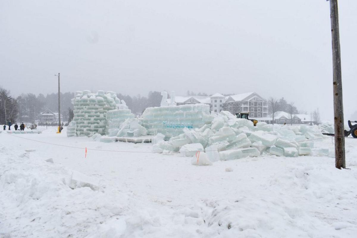 Saranac Lake winter icon razed amid COVID crowd fears Carnival ice palace taken down