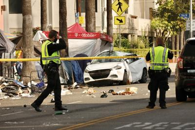 4 hospitalized after car slams into L.A. homeless encampment