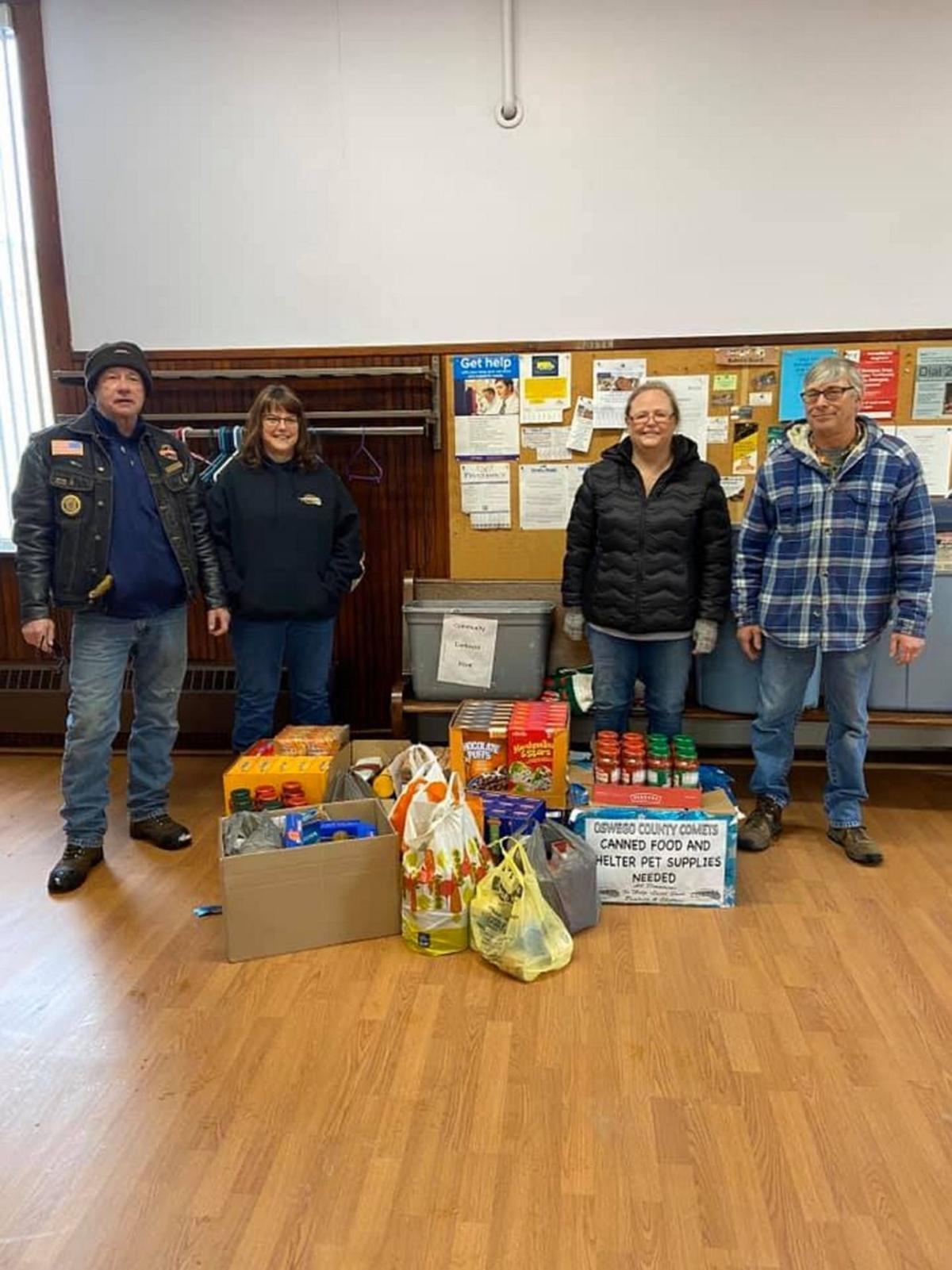 Local civic-minded motorcycle riding club makes donations to food pantries and animal shelters