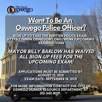City of Oswego to hold police examination, application fee waived