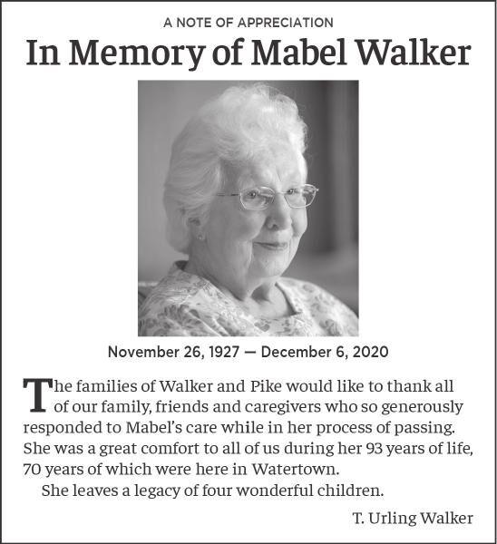 In Memory of Mabel Walker
