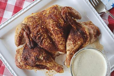 Spatchcocked, spice-rubbed chicken will roast evenly