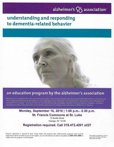 Alzheimer's Association educational program Sept. 16 at St. Francis Commons