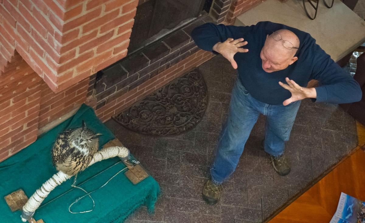 Author and an owl at SLU Bookstore