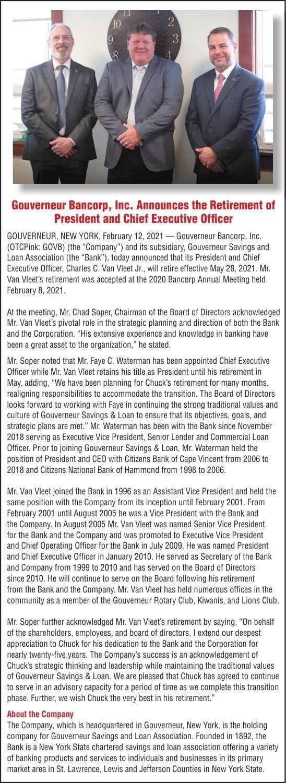Gouverneur Bancorp Inc.