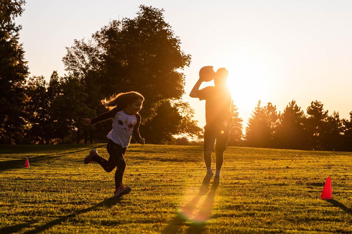 Siblings get their kicks as sunlight fades