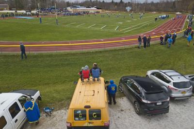 Rooftop football fans