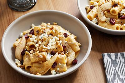 This fall pasta dish features Bosc pears and Gorgonzola