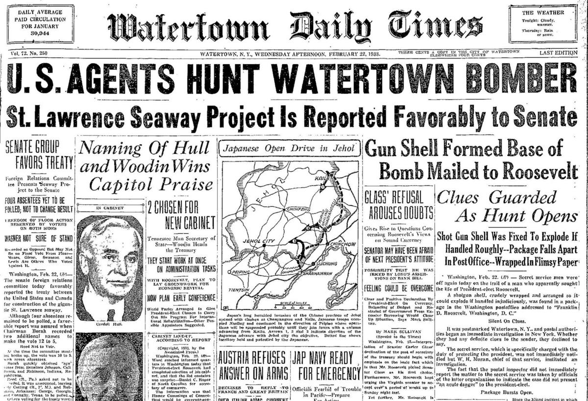 on the hunt Before FDR's inauguration, federal agents searched for a bomb-sender from Watertown