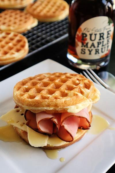 Ham and cheese waffle sandwiches get a kiss of maple syrup