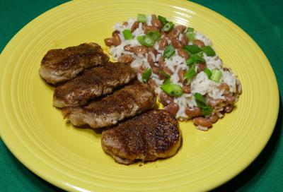 Spicy jerk pork pairs well with coconut rice