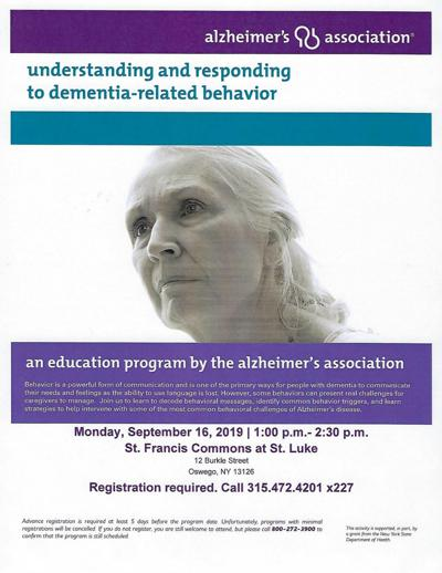 Alzheimer's Association educational program Sept. 16 at St. Francis Commons