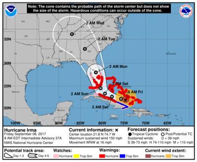 Hurricane Irma downgraded to Category 4 storm, still