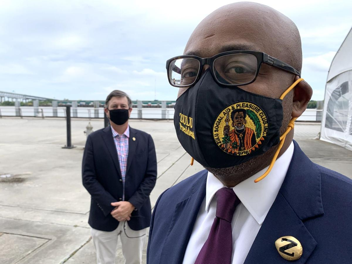 Co-chairmen of The Mayor's Mardi Gras Advisory Council, James J. Reiss III, who represented the Rex Organization and Elroy A. James, of the Zulu Social Aid and Pleasure Club