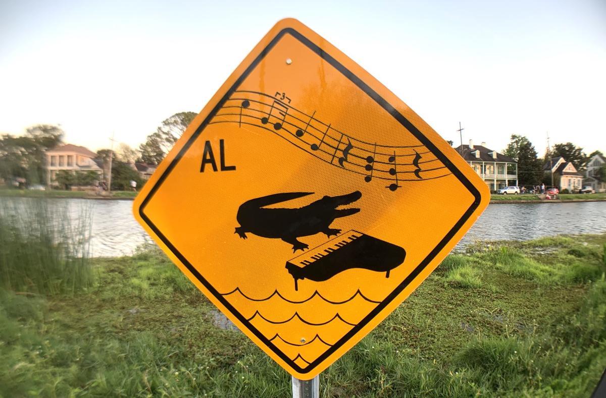 Altered 'Alligators In Area' sign on Bayou St.John