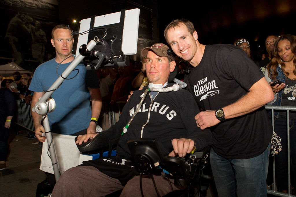 Drew Brees and Anthony Davis join Steve Gleason at Gleason Gras and the New Orleans Saints pep rally