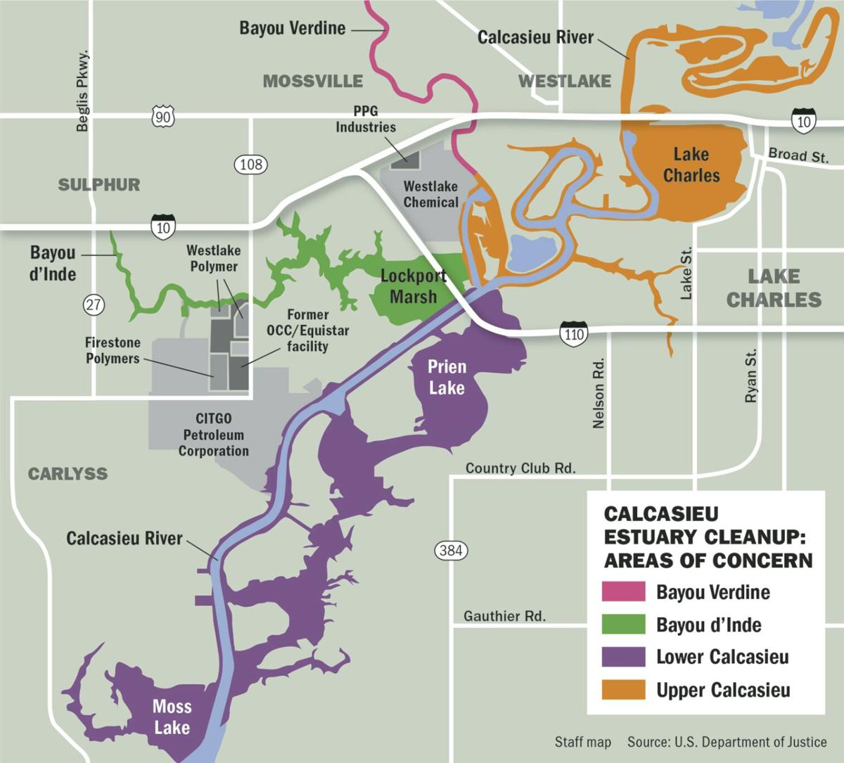 Calcasieu estuary cleanup map