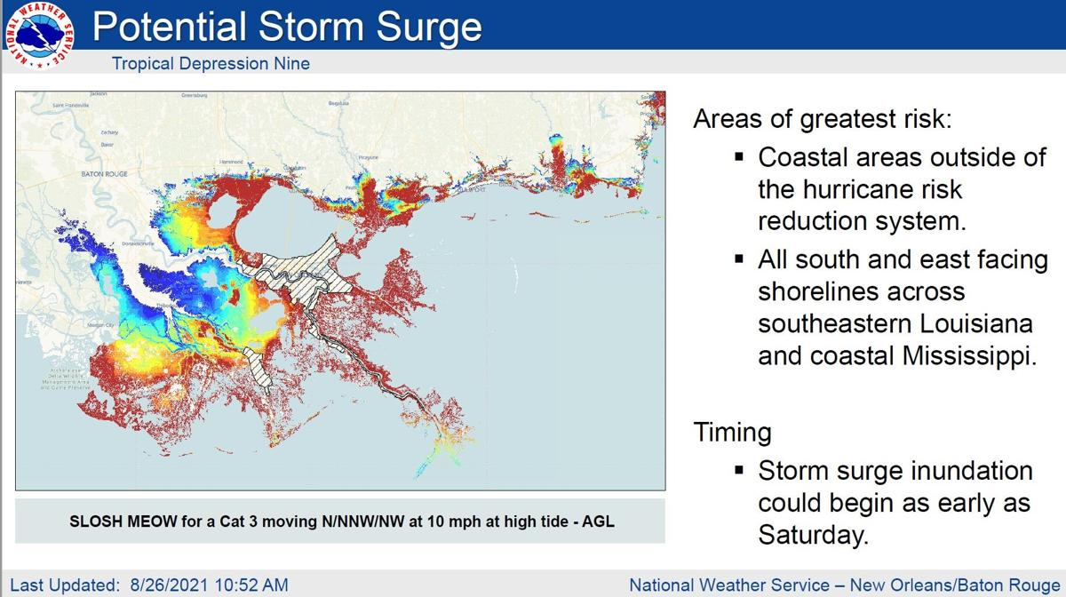 Ida worst-case potential storm surge heights, Aug. 26, 2021